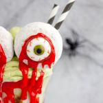 Bloody Monster Eyes Halloween Milkshake, halloween dessert, halloween milkshake, eyeball halloween recipe, Halloween recipe, matcha whipped cream, matcha green tea recipe, vanilla milkshake