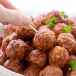 Crockpot Cranberry Meatballs, holiday appetizer, slow cooker meatballs, 3 ingredient recipe