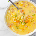 Cheesy Ham and Potato Soup, leftover ham recipe, simple soup recipe, loaded ham and potato soup, meal prep soup