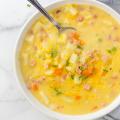Cheesy Ham and Potato Soup, leftover ham recipe, simple soup recipe, loaded ham and potato soup, meal prep soup