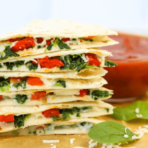 Air Fryer Spinach and Roasted Pepper Quesadilla, how to make a quesadilla in the air air fryer, air fryer recipe, vegetarian quesadilla