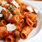 Pressure Cooker Sausage Rigatoni, instant pot rigatoni, pressure pasta recipe, instant pot pasta ideas, how to cook pasta in the pressure cooker, weeknight dinner, quick dinner ideas #familydinner #instantpot #pressurecooker #pasta
