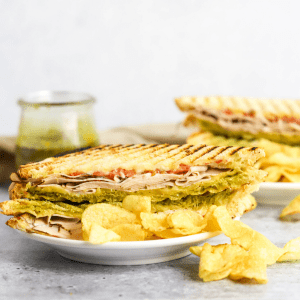 Turkey Gouda Panini, turkey sandwich, lunch ideas, lunch recipes, sandwich ideas, hot sandwich recipe, recipes with pesto, #lunchtime
