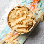 Corn Tortilla Strips, how to make tortilla strips, crispy tortilla strips, baked tortilla strips, chili topping, salad topping