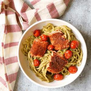 Pesto Linguine with Cajun Trout and Roasted Tomatoes, pesto pasta, recipe with pesto, recipe with trout, cajun seaasoned fish, Aldi meal ideas, shopping at Aldi, Aldi meal planning, how to roast tomatoes, how long to bake trout, #familydinner