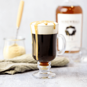 Peanut Butter Irish Coffee, how to make an Irish coffee, skrewball peanut butter whiskey recipe, whiskey recipe, brunch cocktail, whiskey with coffee, peanut butter coffee, peanut butter whipped cream, whiskey whipped cream, brunch recipe