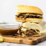 French Dips, crockpot french dips, slow cooker french dips, recipes using chuck roast, crockpot recipe ideas, recipes using red wine, sandwich recipe, au jus, easy family recipes