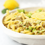 Sausage and Broccoli Pasta with Lemon, lemon pasta, pasta with Italian sausage, light pasta recipe, Aldi recipe, pasta with broccoli, lemon butter pasta, family friendly recipe
