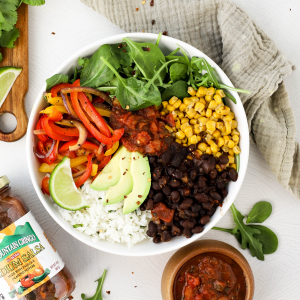 #ad Vegan Burrito Bowls #spiceupspringtime #CheckOutOurBackside #GreenMountainGringo , vegan dinner recipe, how to make a burrito bowl, bean and rice burrito bowl, seasoned beans, cilantro lime rice, meatless Monday recipe,