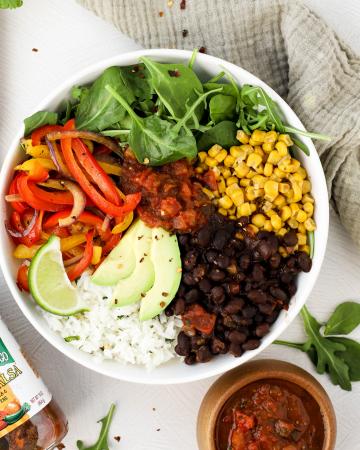 #ad Vegan Burrito Bowls #spiceupspringtime #CheckOutOurBackside #GreenMountainGringo , vegan dinner recipe, how to make a burrito bowl, bean and rice burrito bowl, seasoned beans, cilantro lime rice, meatless Monday recipe,