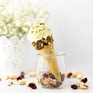 Matcha Rose Ice Cream, matcha recipe, what to make with matcha powder, green tea ice cream, rose extract recipe, rose flavored ice cream, ice cream ideas,