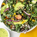 #ad, @Minutericeus, Southwest Kale and Quinoa Salad, rice salad, quinoa recipes, minute rice recipes, 10 minute recipes, meal prep, quick recipe, summer recipe, cilantro lime dressing, healthy recipes,