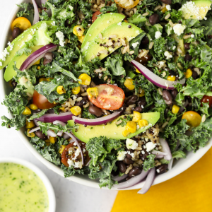#ad, @Minutericeus, Southwest Kale and Quinoa Salad, rice salad, quinoa recipes, minute rice recipes, 10 minute recipes, meal prep, quick recipe, summer recipe, cilantro lime dressing, healthy recipes,