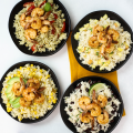 4 Simple Rice Variations, Minute Rice recipes, meal prep with rice, shrimp meal prep, quick meal prep ideas, Italian- Inspired Pesto Rice, a fun Island-Style Rice, a Fiesta Black Bean and Cilantro Lime Rice, or a Zesty Green Chile and Corn Rice. pineapple rice,