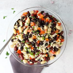 3 Bean Salad with Rice, Minute Rice recipe, summer side dish, summer recipe, no heat cooking, grill out recipe, recipes with rice, recipes with beans,
