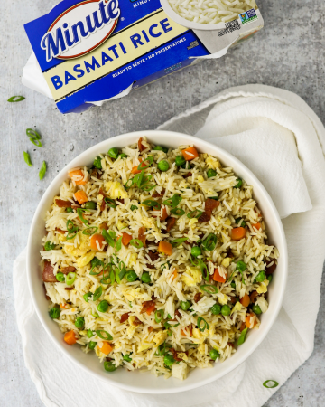 Bacon Fried Rice, Minute Rice recipe, quick family dinner, quick meal ideas, how to make fried rice, recipes with bacon, recipes with rice,