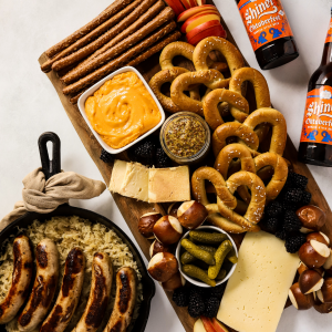 Oktoberfest Charcuterie Board, fall cheese board idea, football recipes for entertaining, pretzels and cheese, beer inspired recipe, how to celebrate oktoberfest