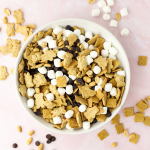 S'mores Snack Mix, quick treat for kids, s'mores recipe, trail mix dessert, recipe with marshmallows, teddy grahams, chocolate snack mix