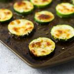 Cheesy Roasted Zucchini, zucchini side dish, squash side dish, summer side recipe, recipe for zucchini, recipe for squash, how to roast zucchini rounds