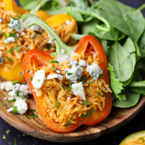 Buffalo Chicken Stuffed Peppers, minute rice recipes, quick recipe, easy family dinner ideas, football game food, easy stuffed pepper recipe, fall dinner recipe, canned chicken ideas, comfort food